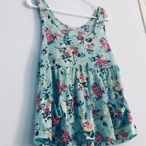 Turquoise Floral Tank Top